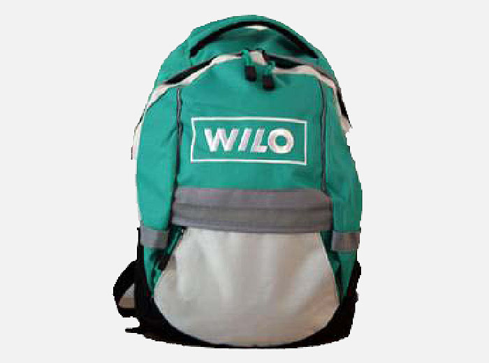 Wilo Rucksack Green and Grey with zip pocket